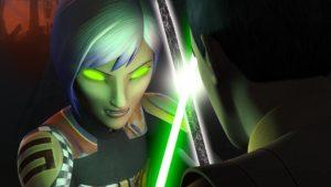 Spirited Sabine fights Ezra with darksaber