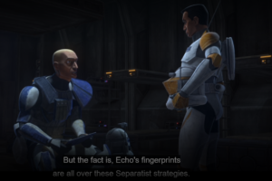 "Captain Rex speaking to Commander Cody in the barracks about the possibility of Echo being alive in the newly-released episode, ""The Bad Batch"""