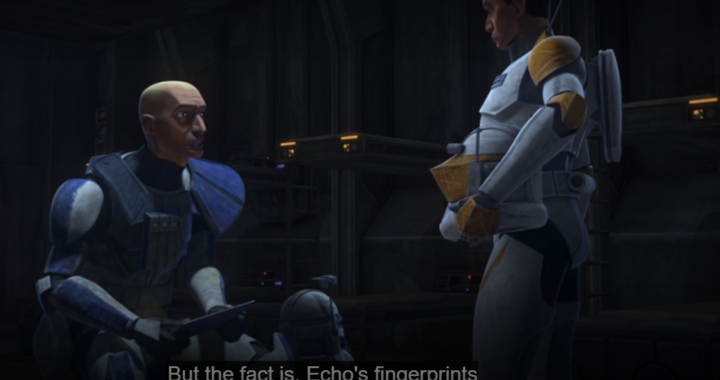 """Captain Rex speaking to Commander Cody in the barracks about the possibility of Echo being alive in the newly-released episode, """"The Bad Batch"""""""