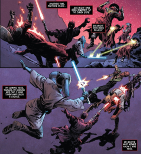 Darth Maul and Eldra Kaitis fighting off common enemies
