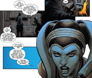 Eldra Kaitis tells Maul she knows he is a Sith and she says he is scared