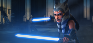 Ahsoka fires up her lightsabers