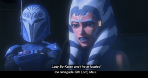 Ahsoka tells Obi-Wan and Anakin that she and Bo-Katan have located Maul
