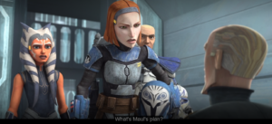 Bo-Katan asks Prime Minister Almec what Maul's plan is