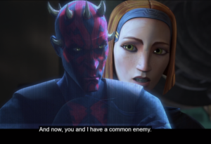 Bo-Katan speaks to Ahsoka about Maul being their common enemy