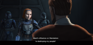 Bo-Katan tells Obi-Wan that the influence of Maul on Mandalore is destroying her people