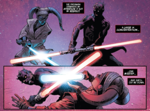 Darth Maul begins to respect Eldra Kaitis in their lightsaber duel