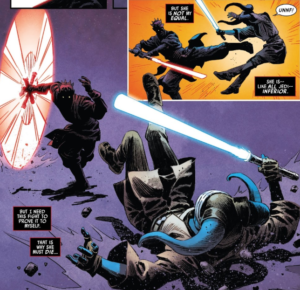 Darth Maul dominating in a lightsaber duel with Eldra Kaitis