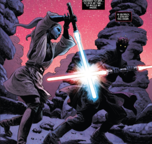 Darth Maul engages in a lightsaber duel with Eldra Kaitis
