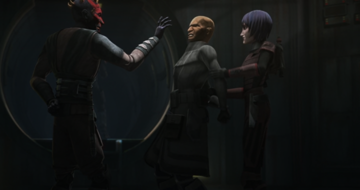 Darth Maul seeking information using the Force from ARC trooper Jesse while being held by Rook Kast