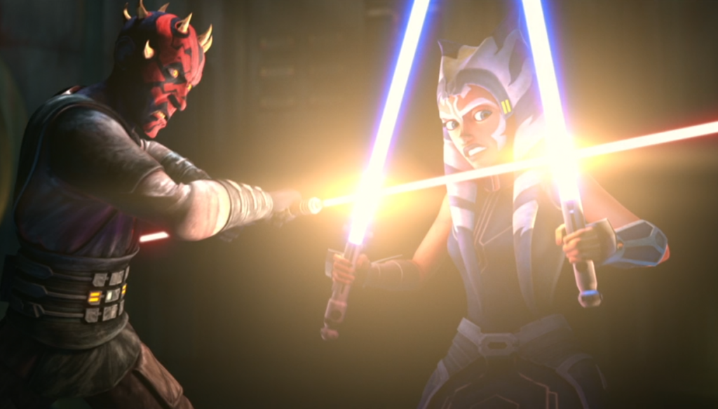 Maul and Ahsoka clash lightsabers for the first time