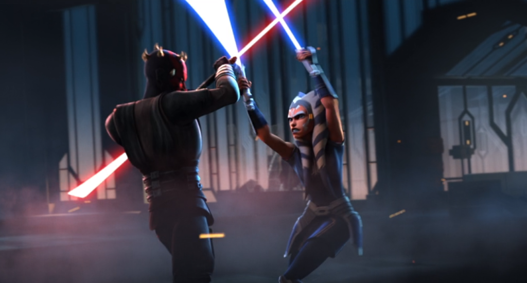 Maul and Ahsoka engaged in lightsaber battle