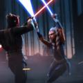 Maul and Ahsoka engaged in lightsaber battle
