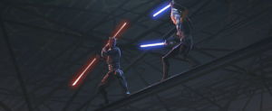 Maul and Ahsoka re-engaged in lightsaber combat