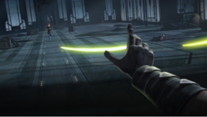 Maul redirecting blaster shots from Bo-Katan, using the Force
