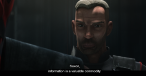 Maul says that information is a valuable commodity and asks Gar Saxon to eliminate Prime Minister Almec