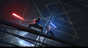 Maul seemingly has the upper hand in the lightsaber duel with Ahsoka as one of her lightsabers falls