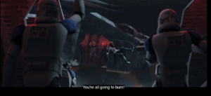"Maul shouting at the clone troopers ""You're all going to burn!"""