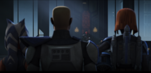 Maul sitting on the Mandalorian throne to the surprise of Bo-Katan, Ahsoka, and Captain Rex