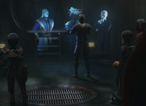 Maul telling the Syndicate leaders to go into hiding
