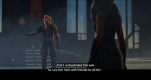 Maul tells Ahsoka that he created this war to lure Skywalker and Kenobi to Mandalore