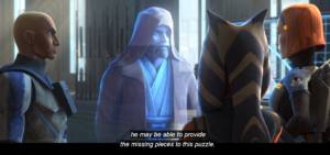 Obi-Wan Kenobi communicating with Bo-Katan Ahsoka and Captain Rex about the information Maul could provide regarding Darth Sidious