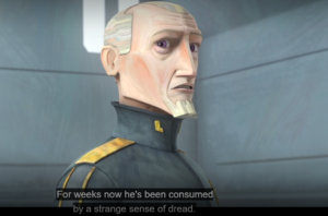 Prime Minister Almec telling Bo-Katan and Ahsoka that Maul had been consumed by a strange sense of dread in the previous weeks