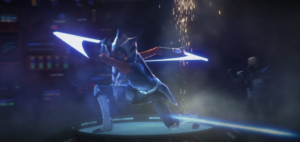 Ahsoka fending off blaster shots following issue of Order 66
