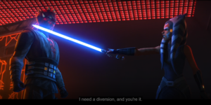 Ahsoka telling Maul that he will be her diversion