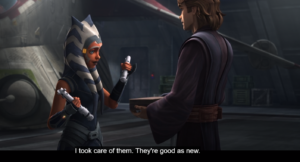 Anakin gifting lightsabers to Ahsoka in their final meeting