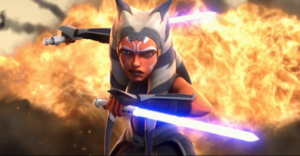 Awesome Ahsoka shot with her lightsabers and explosion behind her in the Siege of Mandalore