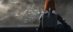Bo-Katan looks out upon Sundari and the damage that has been wrought upon her planet due to the Siege of Mandalore
