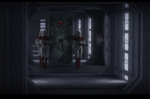 Containment chamber containing Maul being escorted to his cell by troopers