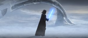 Darth Vader picking-up Ahsoka's lightsaber