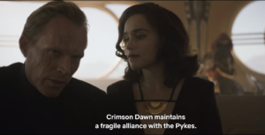 "Dryden Vos tells Han Solo ""Crimson Dawn maintains a fragile alliance with the Pykes"""
