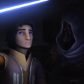 Ezra uses his lightsaber for light in the Malachor underworld while Maul looks on