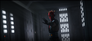 Maul Force-pushes clone troopers while entering the hyperdrive chamber