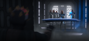 Maul horizontally Force-hurling a wall panel at clone troopers