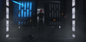 Maul using corridor panels as shields in advancing against clone troopers