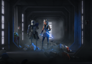 Rex and Ahsoka making their way through stunned clone troopers