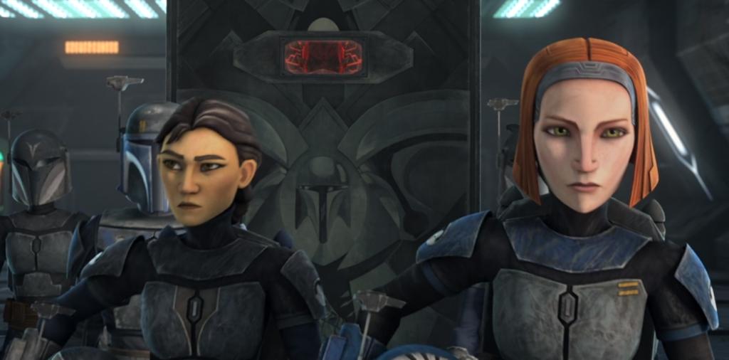 Ursa Wren and Bo-Katan escorting Maul to the Republic cruiser