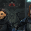 Ursa Wren and Bo-Katan escorting Maul to the Republic cruiser