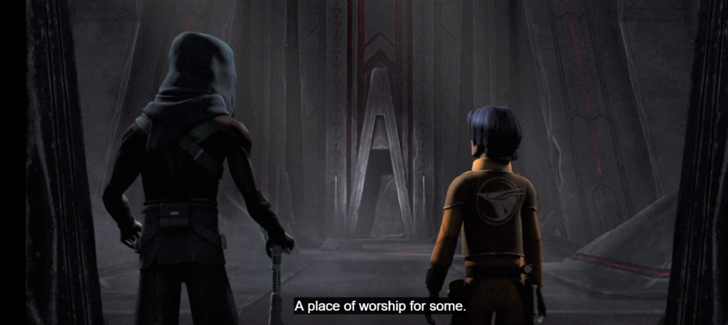Maul and Ezra coming upon the Sith temple on Malachor