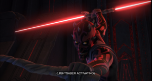 Maul ignites his dual-bladed lightsaber