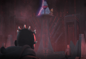 Maul watching Ezra getting lifted up on the platform in the Sith temple on Malachor