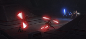 Maul engaged in lightsaber battle against three Inquisitors while Ezra, Kanan, and Ahsoka look on