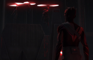 Maul watching the Inquisitors using their lightsabers to fly away