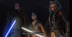 Ahsoka asks Maul what game he is playing
