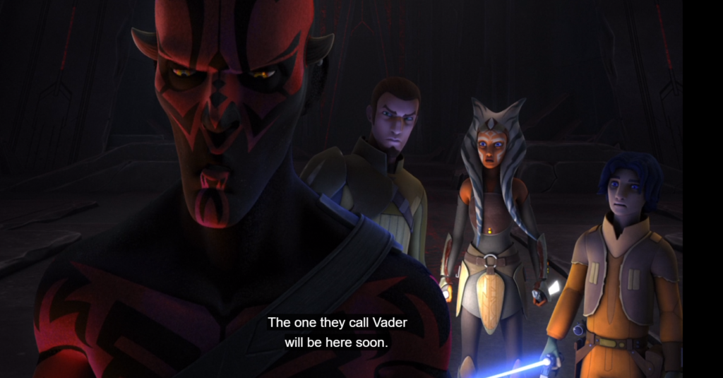 Maul tells Kanan, Ahsoka, and Ezra that Darth Vader will be coming